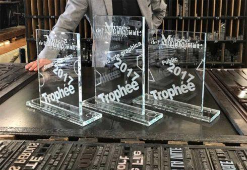 Trophé en verre - Musé de l'imprimerie - Nantes